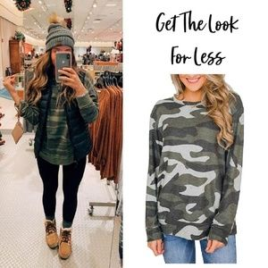 Women Green Camouflage Crewneck Sweatshirt
